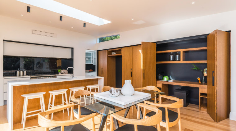 Perfect for family and gatherings of friends, this interior design, kitchen, real estate, white