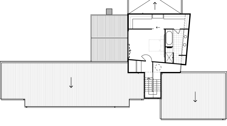 This plan shows the rakish nature of the angle, architecture, area, design, diagram, drawing, elevation, facade, floor plan, furniture, home, house, line, line art, product, product design, shed, square, structure, technical drawing, white