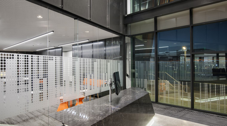 The unmanned reception desk in the drill core architecture, daylighting, glass, house, interior design, lobby, real estate, gray, black