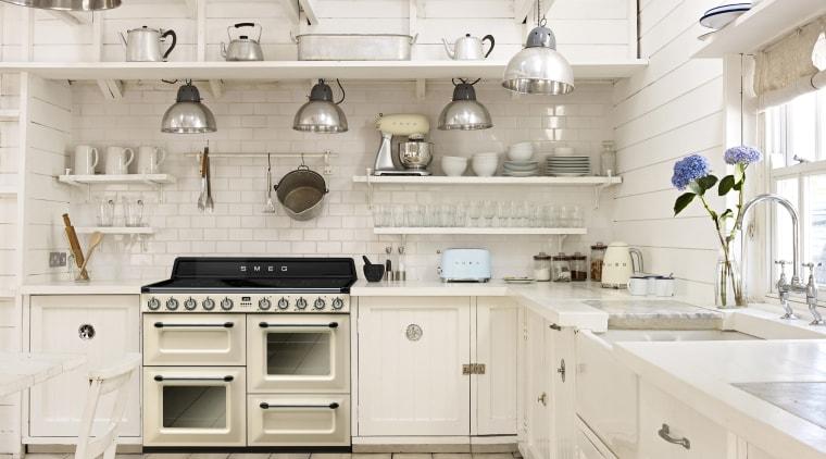 Smegs Victoria series melds traditional design with the countertop, cuisine classique, floor, flooring, interior design, kitchen, room, tile, white