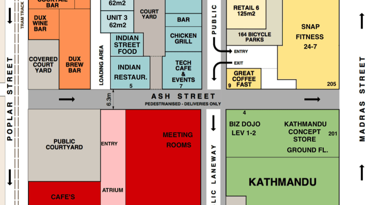 Plan of part of the Christchurch Innovation Precinct area, font, line, text, white
