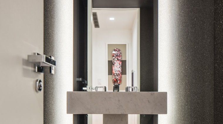 This powder room in a renovated New York architecture, interior design, gray, black