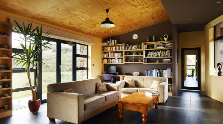 This home by Aonui Architecture features Resene Golden ceiling, interior design, living room, real estate, room, brown