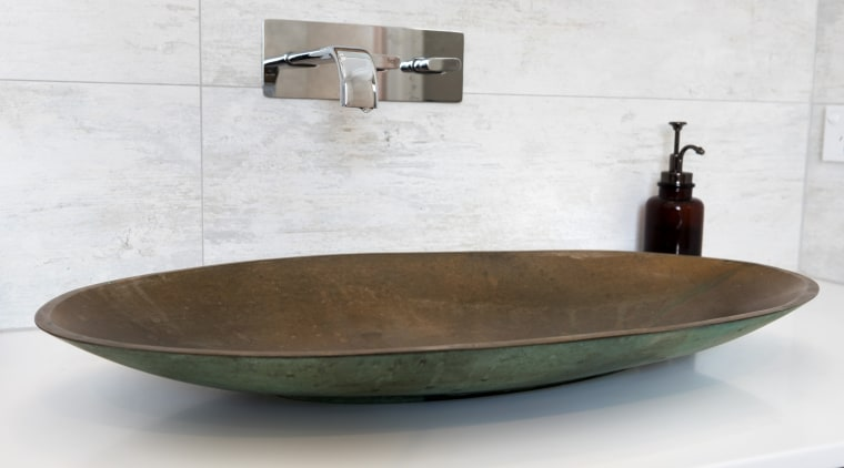 This verdigrised bronze basin is sealed to protect bathroom sink, ceramic, plumbing fixture, product design, sink, tap, white