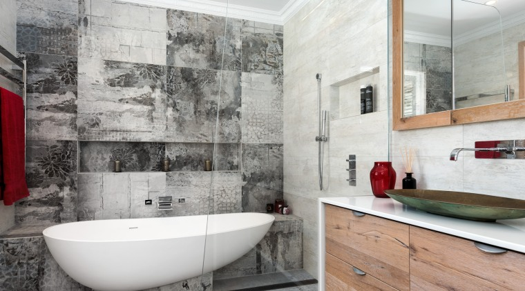 A raked glass shower wall is sufficient to architecture, bathroom, floor, flooring, home, interior design, real estate, room, tile, wall, white, gray