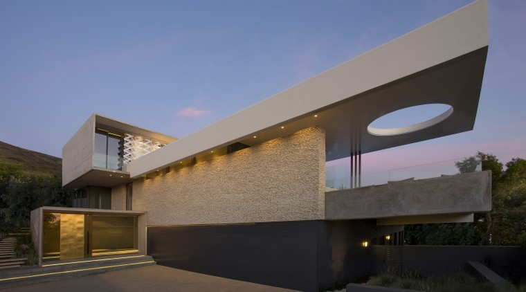 Designed by architects ARRCC, this new hilltop home architecture, building, elevation, estate, facade, home, house, property, real estate, residential area, sky, black, teal