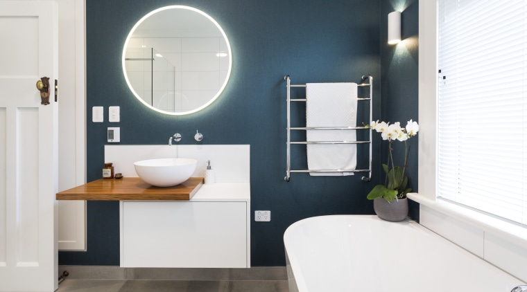 Existing doors and windows were retained in this bathroom, bathroom accessory, bathroom cabinet, interior design, plumbing fixture, product design, room, sink, tap, white