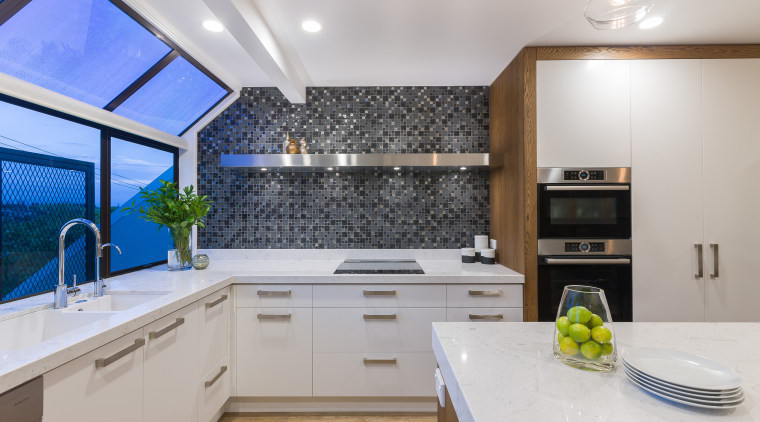 With removal of walls, this renovation by Kira countertop, interior design, kitchen, real estate, gray