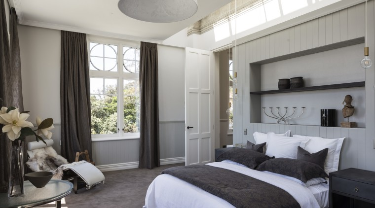 Old and new  an exterior of the bed frame, bedroom, ceiling, furniture, home, interior design, real estate, room, window, gray