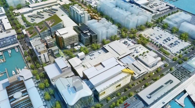 An overview of the Wynyard Quarter Innovation Precinct. bird's eye view, city, commercial building, condominium, metropolis, metropolitan area, mixed use, neighbourhood, real estate, residential area, suburb, urban area, urban design, white