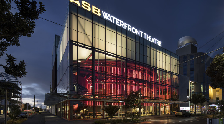 ASB Waterfront Theatre provides a permanent home for architecture, building, city, commercial building, corporate headquarters, downtown, facade, landmark, metropolis, metropolitan area, mixed use, night, sky, blue, black