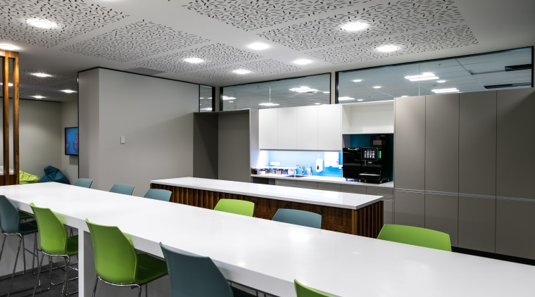 Joinery specialist Image Interiors created the utility kitchen architecture, ceiling, conference hall, interior design, office, product design, table, gray