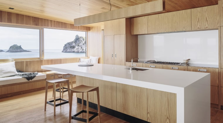 This kitchen in a home by Studio2 Architects architecture, countertop, floor, hardwood, house, interior design, kitchen, real estate, table, wood, wood flooring, gray, brown