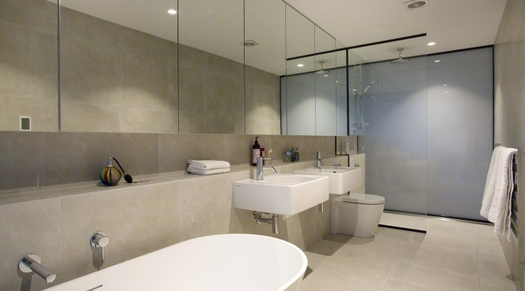 Translucent glass offers privacy. architecture, bathroom, floor, interior design, property, real estate, sink, gray