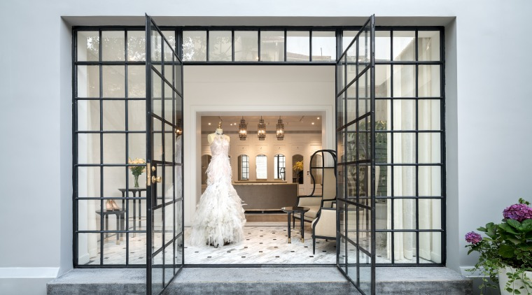 Fresh use  original windows. Home becomes haute door, furniture, home, interior design, window, white, gray