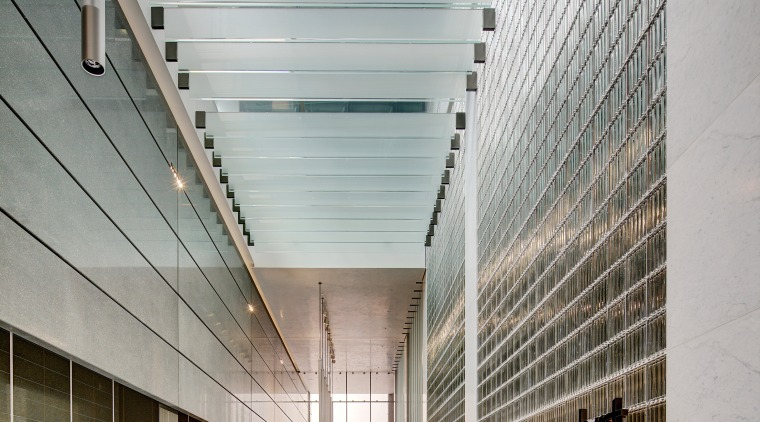 The triple-height foyer in the new 5 Martin architecture, building, ceiling, commercial building, condominium, corporate headquarters, daylighting, facade, glass, headquarters, lobby, structure, gray