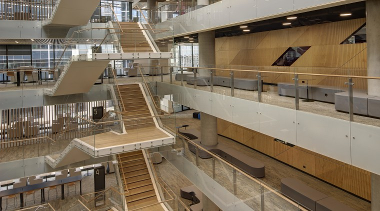 At the heart of the podium at 1 architecture, brown, gray