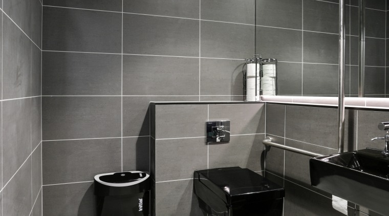 Niro 600mm x 300mm tiles in the colour architecture, bathroom, black, black and white, floor, flooring, interior design, product design, room, tile, wall, gray, black