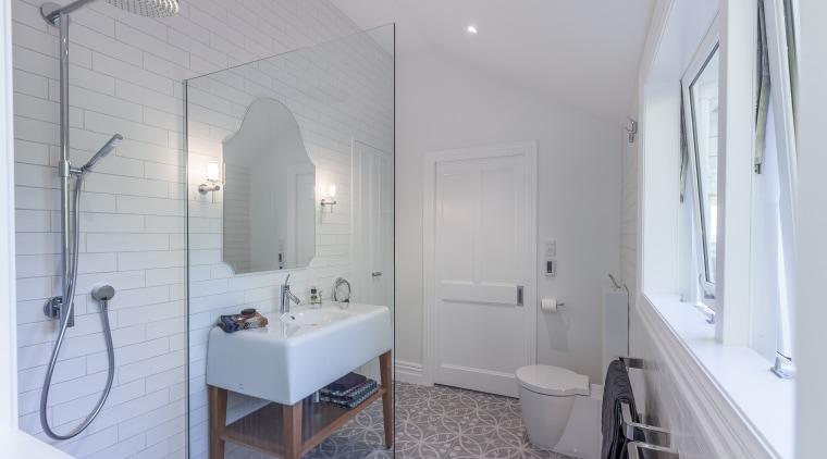 In this master ensuite by designer Natalie Du architecture, bathroom, floor, home, interior design, property, real estate, room, gray
