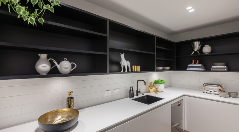 This walk-in scullery continues the look of the countertop, interior design, kitchen, gray, black