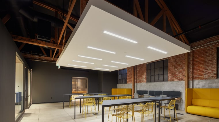 A white dropped ceiling panel helps delineate the architecture, ceiling, daylighting, house, interior design, loft, roof, black, gray