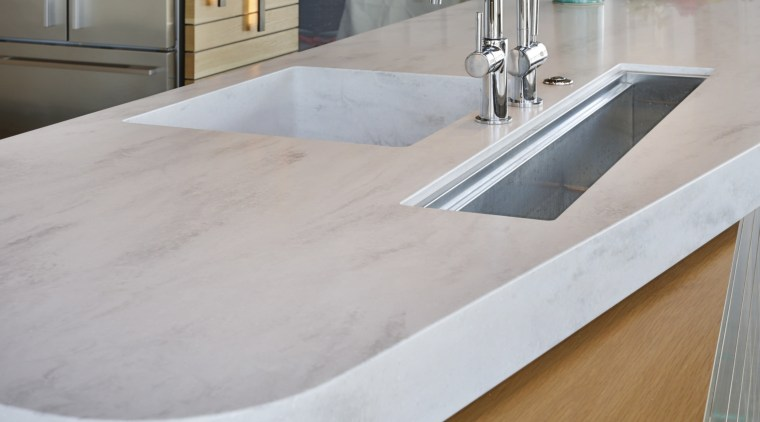 The narrowing of the benchtop at the end countertop, floor, Polished Concrete flooring, , sink, tap, Melanie Craig Design,