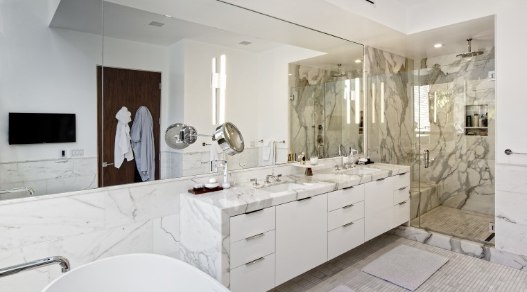 The owners of this new home asked architect bathroom, countertop, floor, home, interior design, kitchen, property, real estate, room, sink, tile, gray