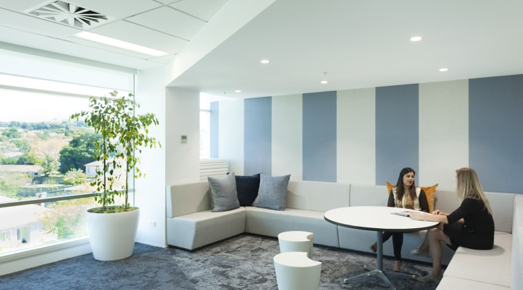 Stack Interiors designed the Z Energy office with ceiling, daylighting, interior design, living room, real estate, window, white