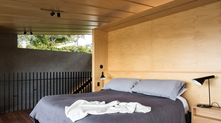 Master bedroom – master suite designed by Strachan architecture, bed, bed frame, bedroom, ceiling, floor, home, house, interior design, property, real estate, room, wall, wood, orange