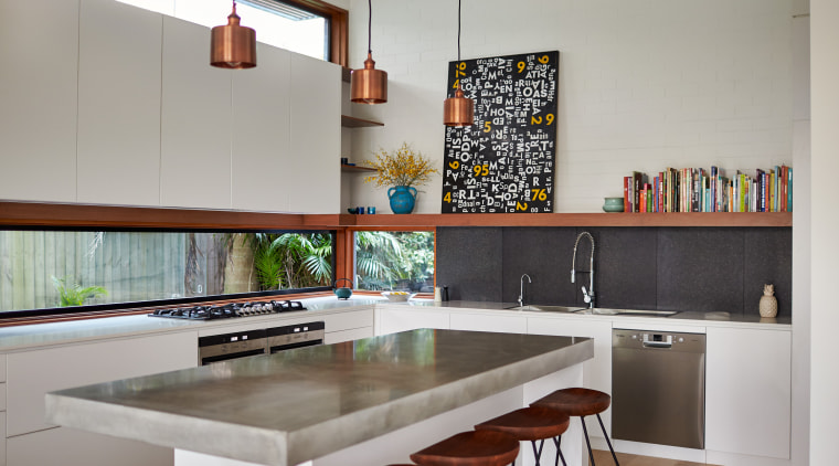 Concrete benchtop. Kitchen design by Bijl Architects countertop, interior design, kitchen, real estate, room, table, gray