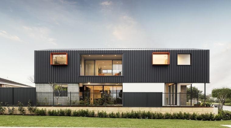 Brave and daring, The Barnhaus has been carefully architecture, building, commercial building, design, facade, home, house, interior design, land lot, mixed-use, property, real estate, residential area, sky, gray