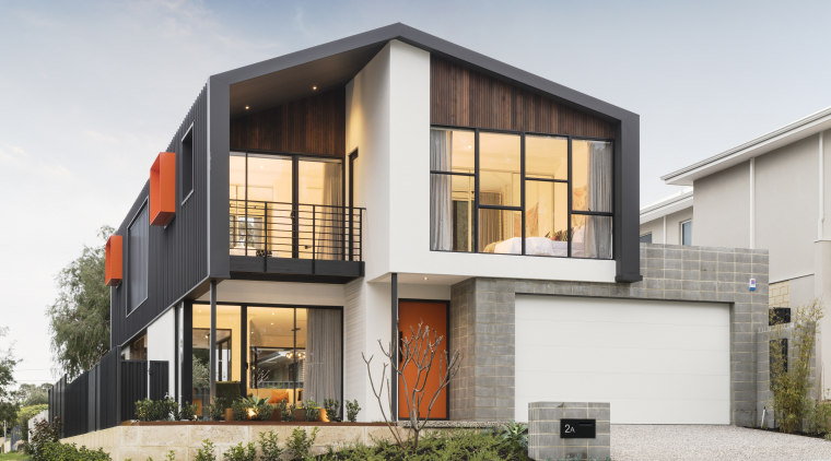 Whilst the garage is constructed of industrial concrete apartment, architecture, building, estate, facade, home, house, interior design, land lot, material property, property, real estate, residential area, roof, room, villa, white, gray
