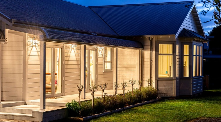 Modern Weatherboard Homestead Clad With Envira backyard, cottage, facade, home, house, property, real estate, residential area, siding, window, blue