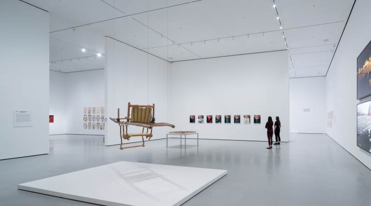 Installation View of David Geffen Wing gallery 207, architecture, art, art exhibition, art gallery, building, ceiling, daylighting, design, event, exhibition, interior design, line, modern art, museum, space, stock photography, tourist attraction, visual arts, gray