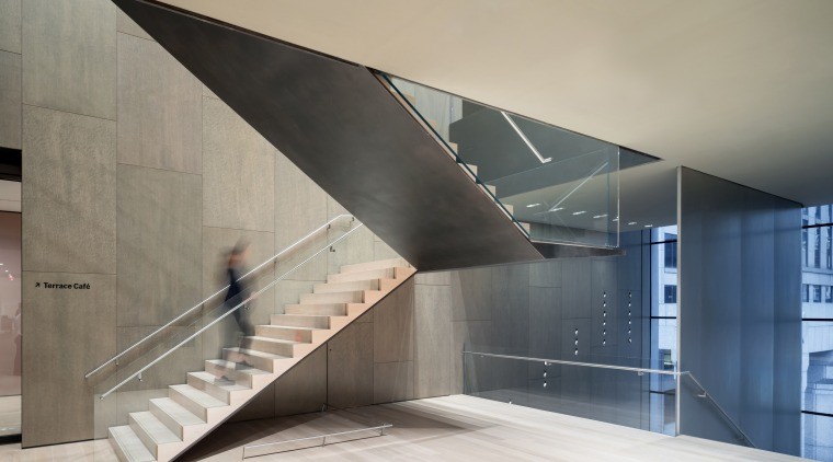 Interior view of The Museum of Modern Art, architecture, building, concrete, daylighting, design, facade, floor, glass, house, interior design, line, material property, metal, reinforced concrete, space, stairs, tourist attraction, wall, gray