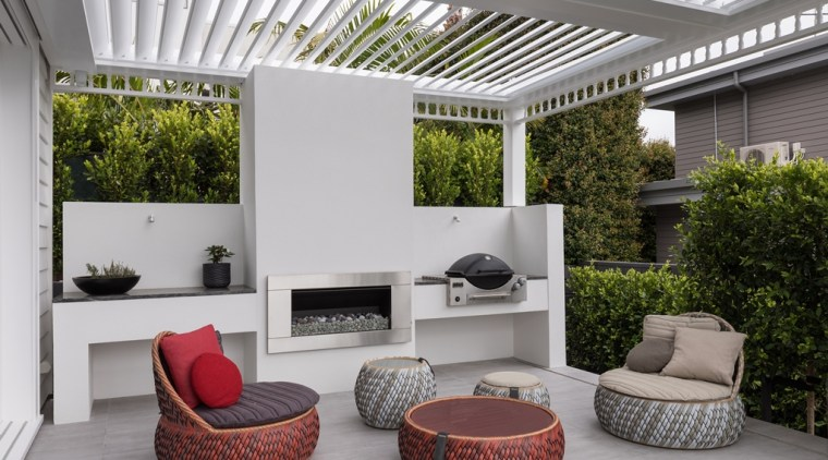 This outdoor living space provides all weather enjoyment