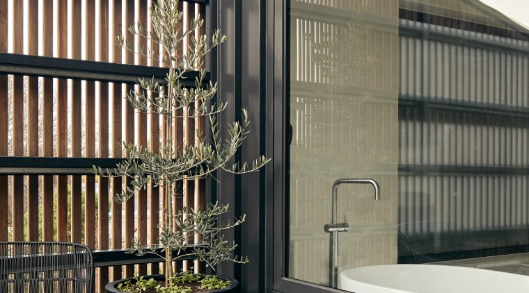 Even the private main bathroom has great outlooks architecture, balcony, building, facade, floor, furniture, house, interior design, room, shelf, black, gray