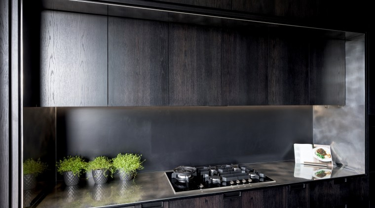 The backbench is a solid 6mm stainless steel architecture, house, interior design, material property, room, black, gray