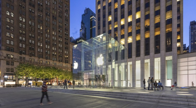 At the center of the plaza is Apple's gray, black