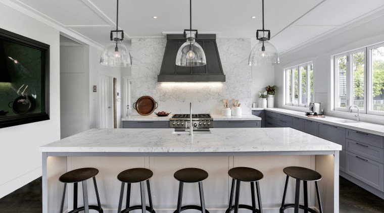 Honed Carrara marble was selected for the 'show