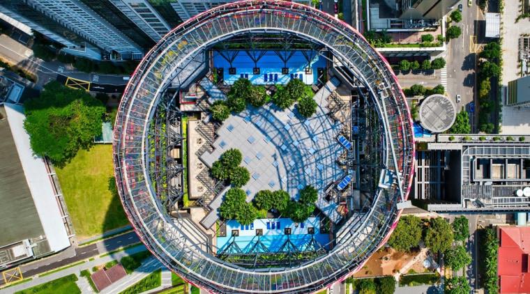 Looking down through the circle aerial photography, bird's eye view, building, city, cityscape, condominium, daytime, landmark, metropolis, metropolitan area, mixed use, neighbourhood, residential area, tree, urban area, urban design