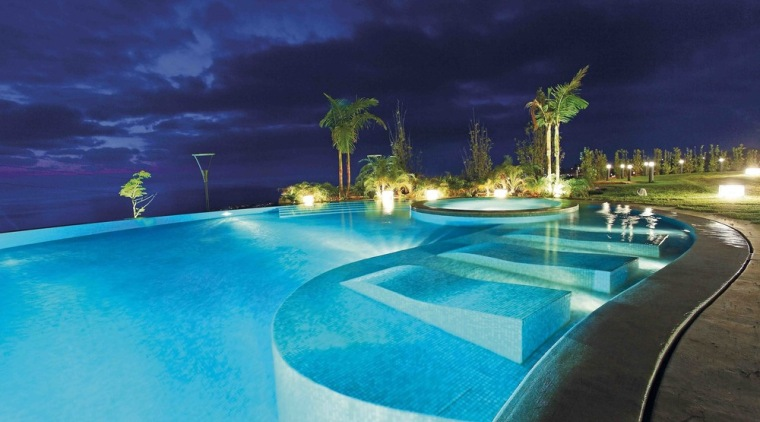 This pool house is sense-ational - architecture | architecture, building, estate, hotel, house, leisure, lighting, night, property, real estate, resort, resort town, sky, spa town, swimming pool, tree, vacation, villa, blue, teal
