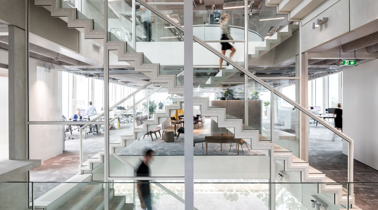 Going somewhere? An Escher-eske view on the central architecture, building, ceiling, daylighting, design, floor, flooring, glass, headquarters, interior design, loft, material property, metal, office, real estate, room, space, stairs, white, gray