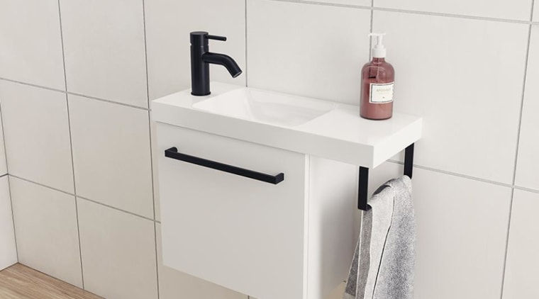 Stylish and space-saving vanity and basin options - bathroom, bathroom accessory, ceramic, chest of drawers, drawer, dresser, floor, flooring, furniture, interior design, material property, room, shelf, shelving, sideboard, table, tile, wall, white