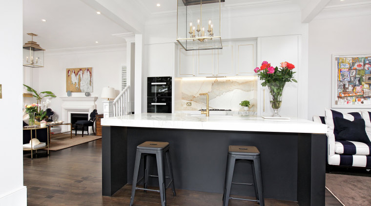 Black and white world (with hints of brass) bar stool, building, cabinetry, ceiling, chair, countertop, design, dining room, floor, flooring, furniture, home, house, interior design, kitchen, material property, property, room, stool, table, white, white
