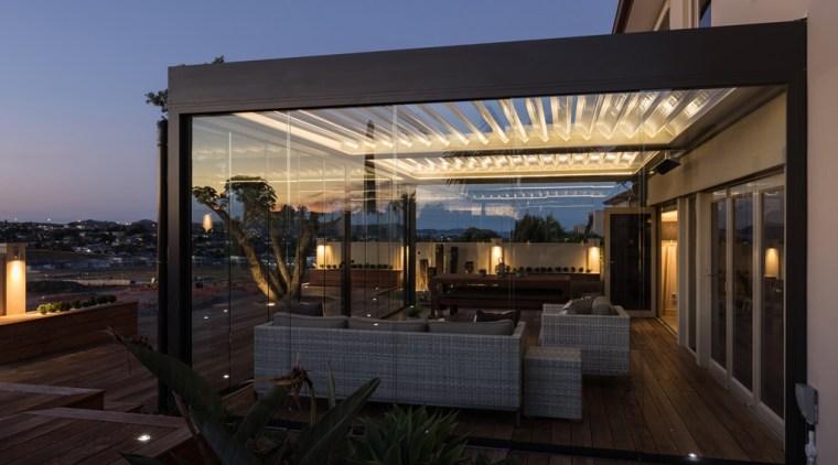 78580_louvretec-new-zealand-ltd_1557361178 - apartment | architecture | building | apartment, architecture, building, deck, design, home, house, patio, pergola, property, real estate, roof, shade, sky, black