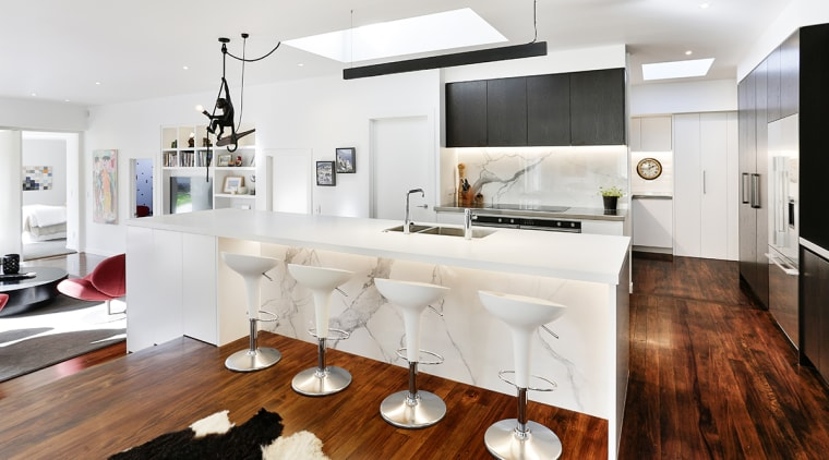 Best foot forward – with a budget to architecture, black-and-white, building, cabinetry, ceiling, countertop, design, dining room, floor, flooring, furniture, hardwood, home, house, interior design, kitchen, laminate flooring, living room, material property, property, real estate, room, table, white, wood flooring, white