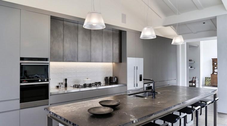 From the outset, designer Shane George was respectful ceiling, countertop, cuisine classique, floor, flooring, interior design, kitchen, laminate flooring, table, wood flooring, gray