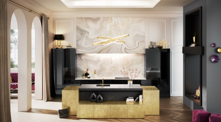Luxe Hacker Kitchen ceiling, furniture, interior design, living room, room, table, wall, white