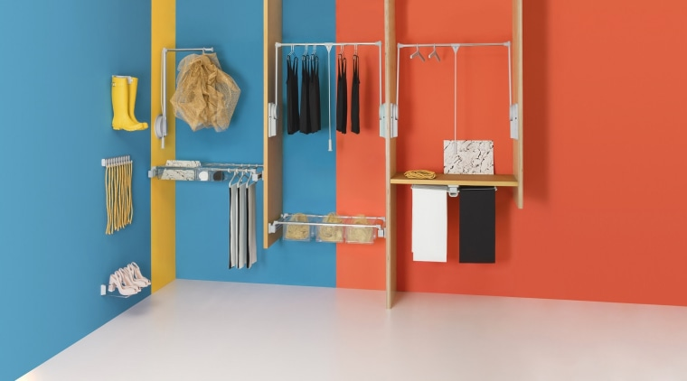The Ambos Wardrobe System by FIT blue, floor, furniture, product, room, shelf, shelving, red, teal